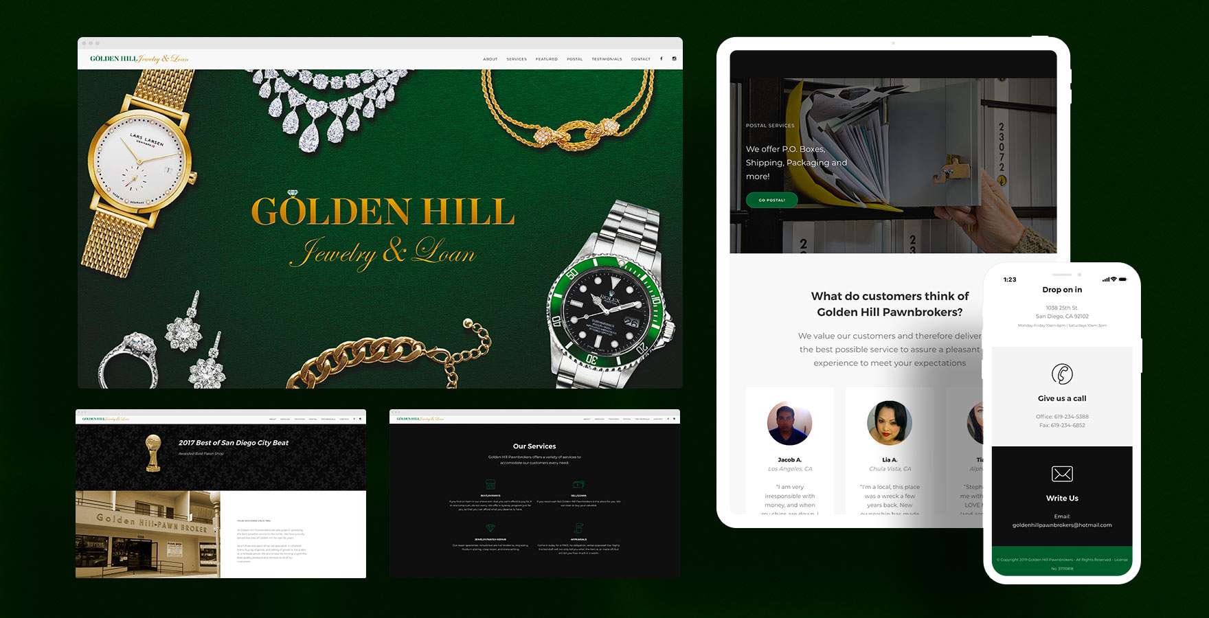 Dwight Website Design for Golden Hill Jewelry and Loan